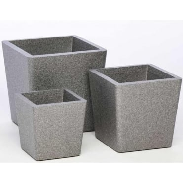 Iqbana Conical Square Planter in 3 Sizes Grey