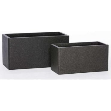 Iqbana Rectangle Set of 2 Pots in Black: