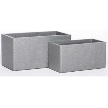 Iqbana Rectangle Set of 2 Pots in Grey:
