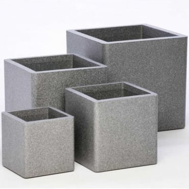 Iqbana Square Planter Set of 4 in Grey