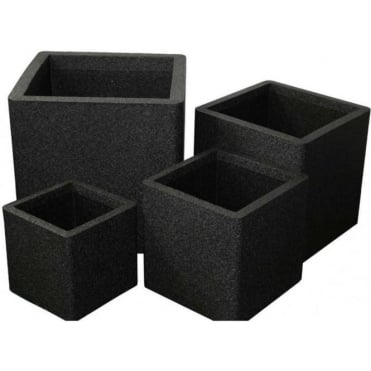 Iqbana Square Set of 4 Pots Black