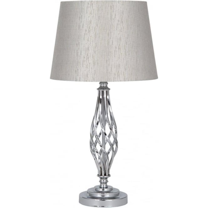 Click to view product details and reviews for Jenna Silver Coloured Twisted Metal Complete Table Lamp 56cm.