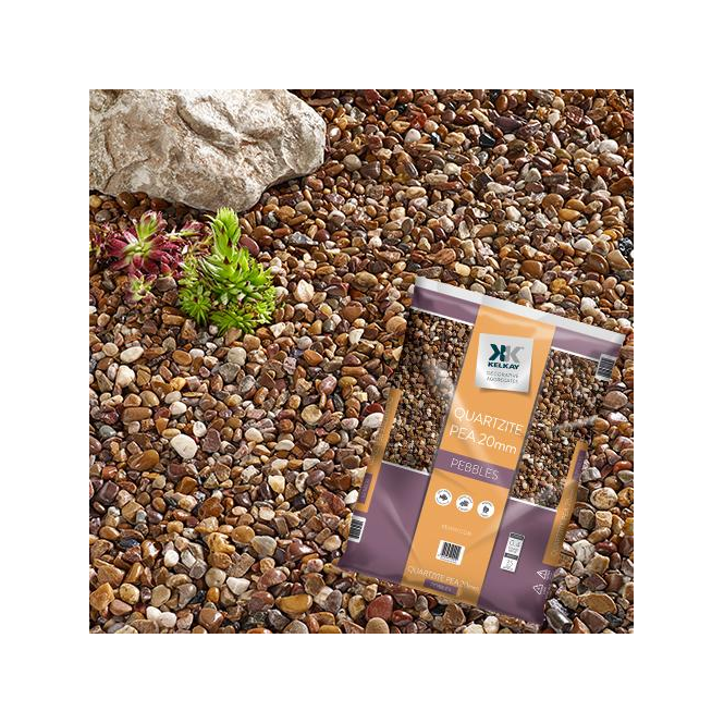 Click to view product details and reviews for Kelkay Quartzite Pea Gravel 20mm Bulk Bag.
