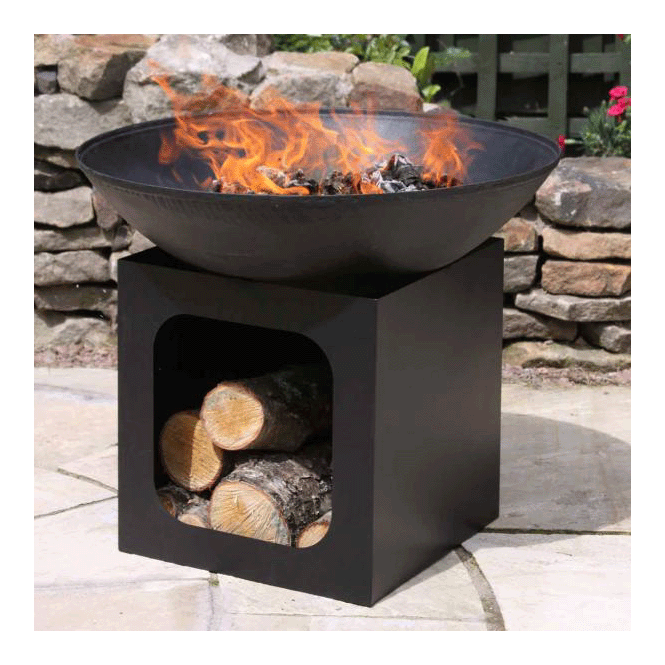 Large Cast Iron Fire Bowl With Log Store