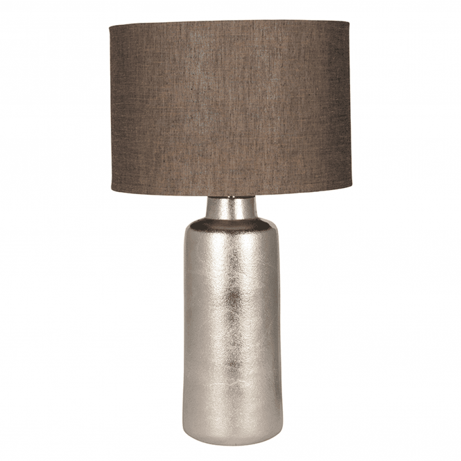 Large Raw Nickel Table Lamp And Cotton Shade
