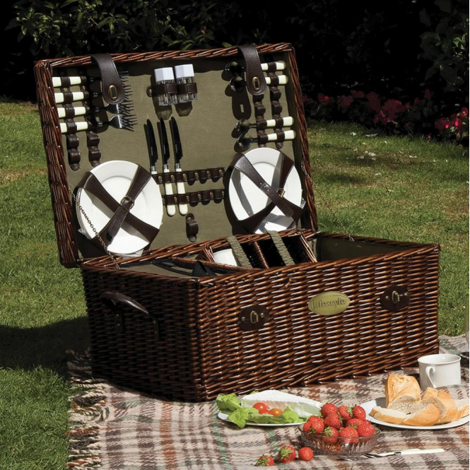 Click to view product details and reviews for Lifestyle Family Sized Willow Picnic Hamper For Six.