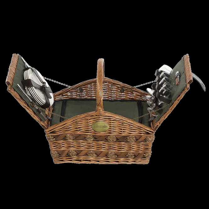 Lifestyle Home Sweet Home Willow Picnic Hamper For Four