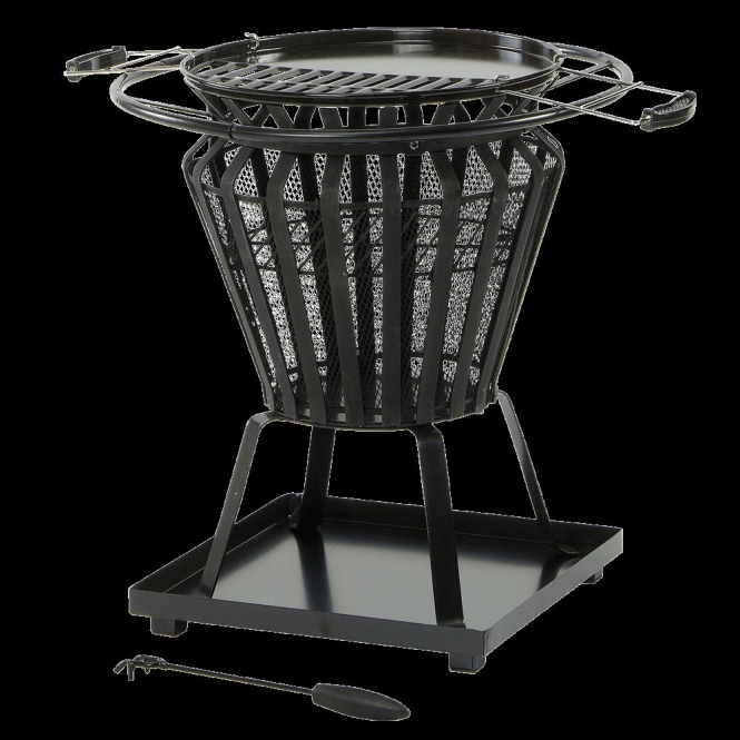 Lifestyle Signa Steel Fire Basket With Bbq Grill