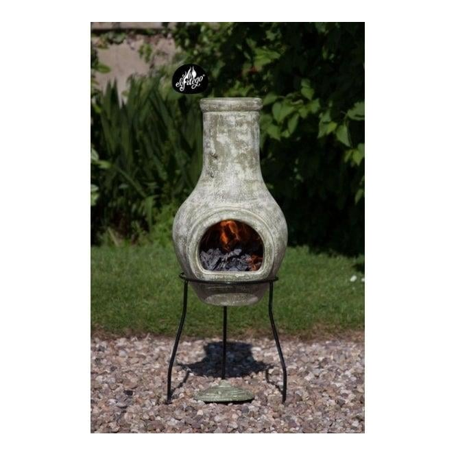 Click to view product details and reviews for Lola Small Clay Chimenea Pale Green Or Sun Decor Bronze.