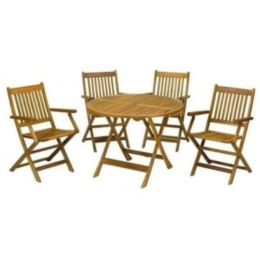 Manhattan 90cm Table with 4 Manhattan Folding Armchairs