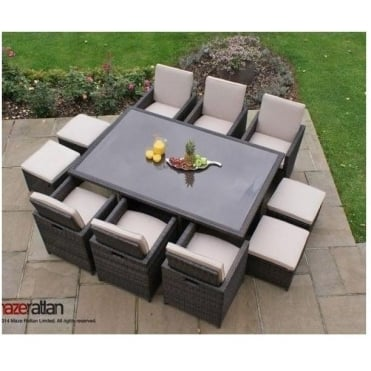 Maze Rattan 7pc Cube Set with Footstools