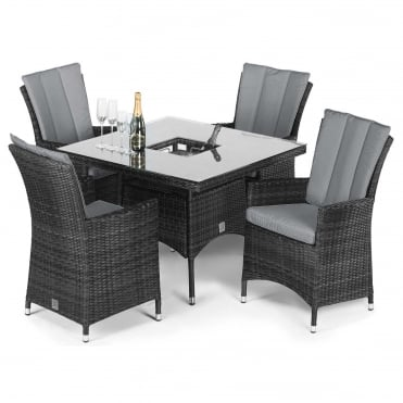 Maze Rattan LA 4 Seat Square Dining Set with Ice Bucket