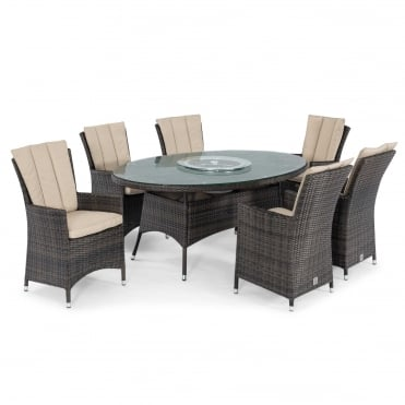 Maze Rattan LA 6 Seat Oval Dining Set with Ice Bucket & Lazy Susan