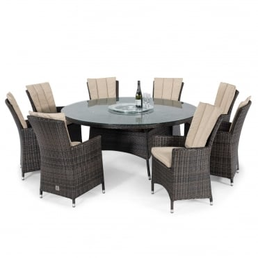 Maze Rattan LA 8 Seat Round Dining Set with Ice Bucket & Lazy Susan