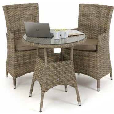Maze Rattan Milan 2 Seat Round Bistro Set with Carver Chairs