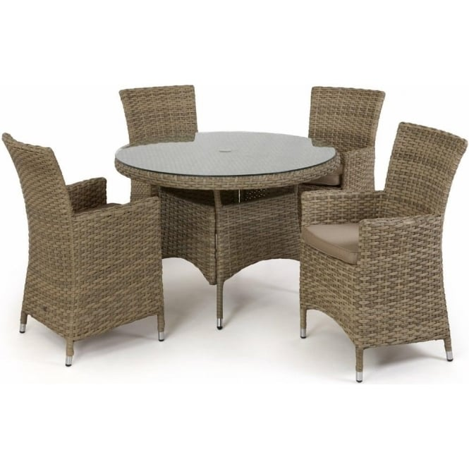 Maze Rattan Milan 8 Seat Round Dining Set With Carver Chairs: Maze Rattan Milan 4 Seat Round Dining Set With Carver Chairs