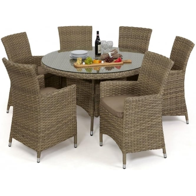 Maze Rattan Milan 8 Seat Round Dining Set With Carver Chairs