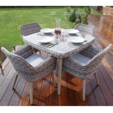 Paris 4 Seat Dining Set with Square Table