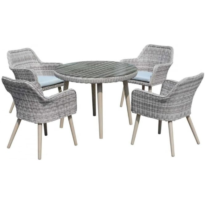 Paris 4 Seat Dining Set with Round Table