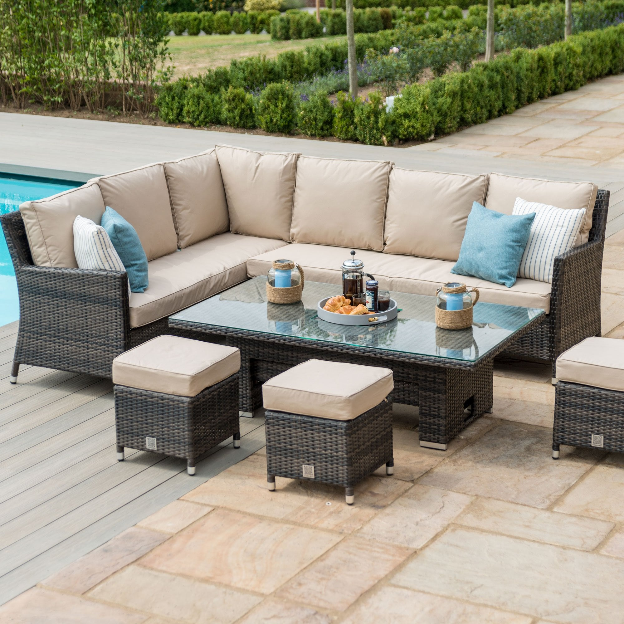 Maze Rattan Venice Corner Sofa Dining Set With Ice Bucket And Rising Table
