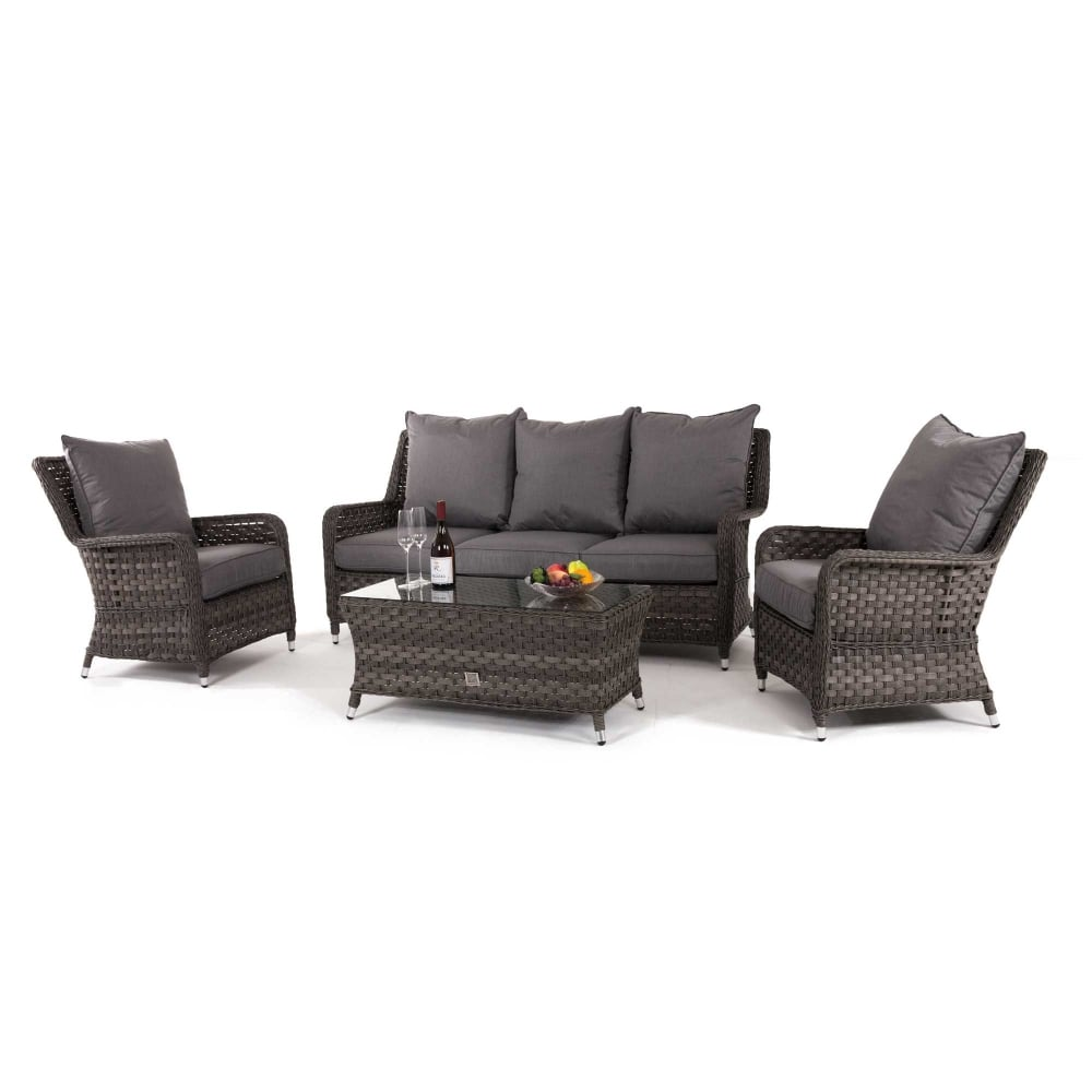 Outdoor Patio Couch Set, Maze Rattan Victoria High Back 3 Seat Sofa Set
