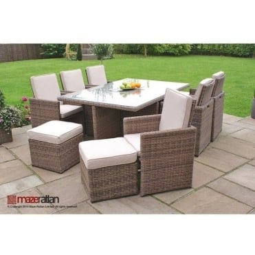 Maze Rattan Winchester 7pc Cube Set with Footstools