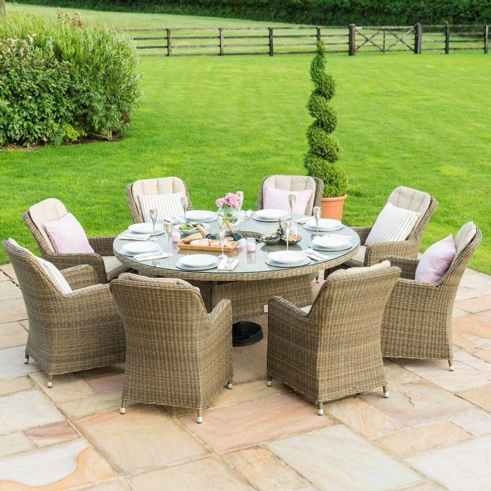 Maze Rattan Winchester 8 Seat Round Dining Set with Venice Chairs Ice Bucket u0026 Lazy Susan & Maze Rattan Winchester 8 Seat Round Dining Set with Venice Chairs ...