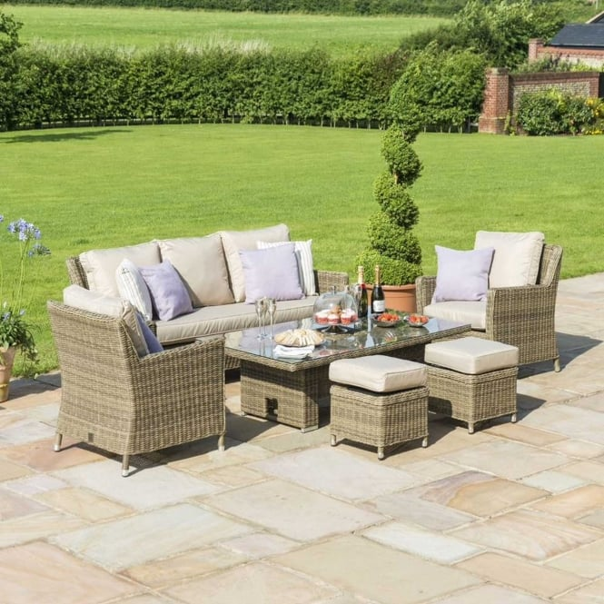 Click to view product details and reviews for Maze Rattan Winchester Sofa Dining Set With Ice Bucket And Rising Table.