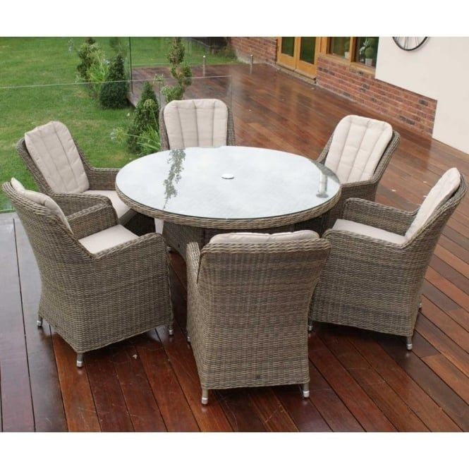 Winchester Venice 6 Seater Round Dining Set