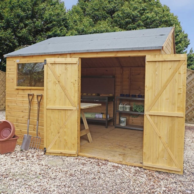 Click to view product details and reviews for Mercia 12 X 10 Premium Shiplap Reverse Apex Workshop Double Door.