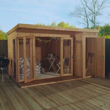 Mercia 12 x 8 Garden Room Summerhouse with Side Shed
