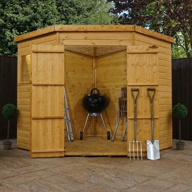 Click to view product details and reviews for Mercia 7 X 7 Shiplap Pent Corner Shed Double Door.