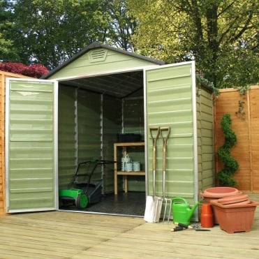 Mercia 8 x 6 Green Apex Plastic Shed