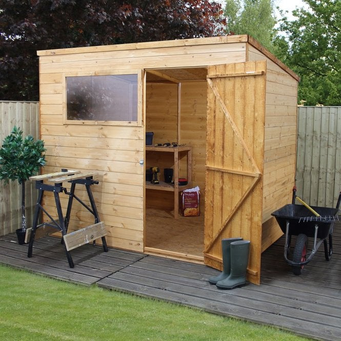 Click to view product details and reviews for Mercia 8 X 6 Shiplap Pent Shed Single Door.