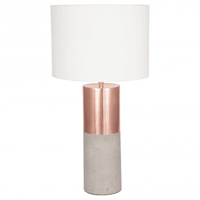 Metal And Concrete Lamp With Handloom White Shade