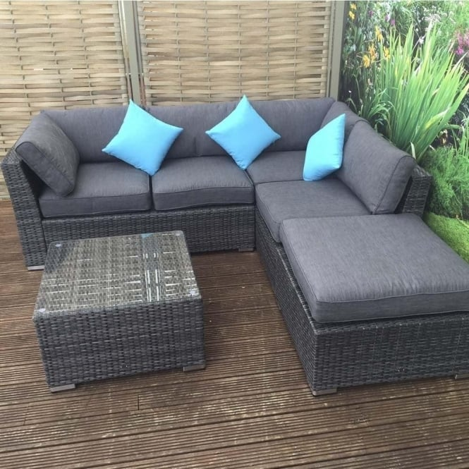 Minnie Rattan Corner Sofa With Footstool And Coffee Table