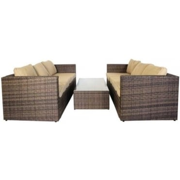 Monaco Large Sofa Set with Storage Table MIXED BROWNS