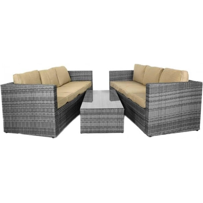soliel monaco large sofa set with storage table mixed grey