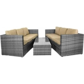 Monaco Large Sofa Set with Storage Table MIXED GREY