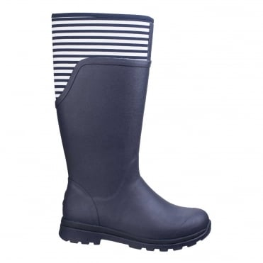 Cambridge Tall Boots in Navy/ White Stripes
