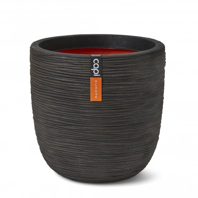 Click to view product details and reviews for Nature Rib Ball Planter Dark Brown.
