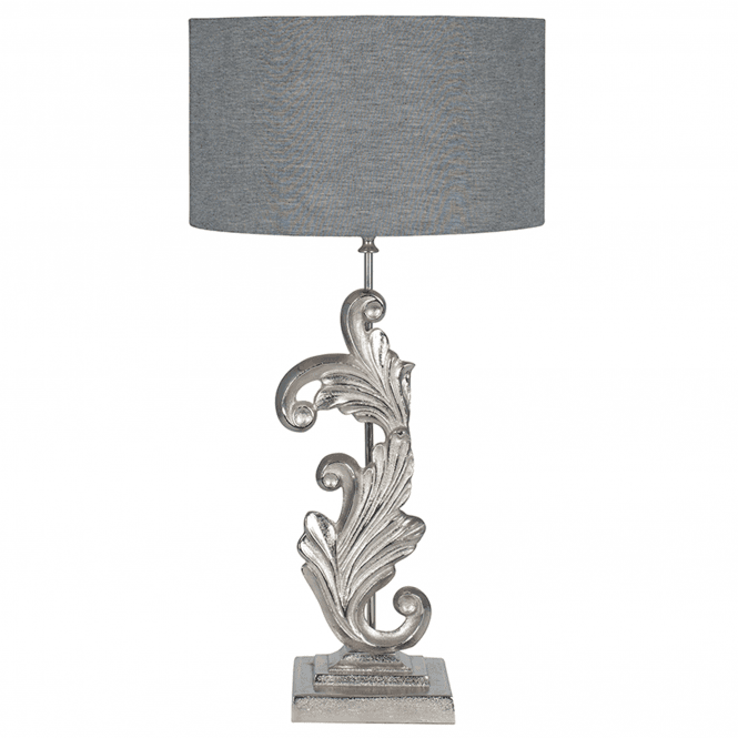 Click to view product details and reviews for Nickel Scroll Sculptural Table Lamp.