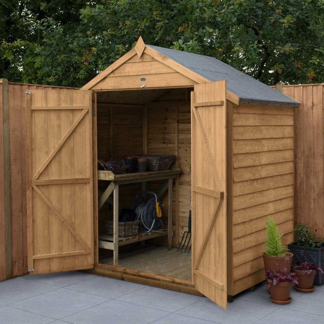 Click to view product details and reviews for Overlap Dip Treated 6 X 4 Apex Shed Double Door.
