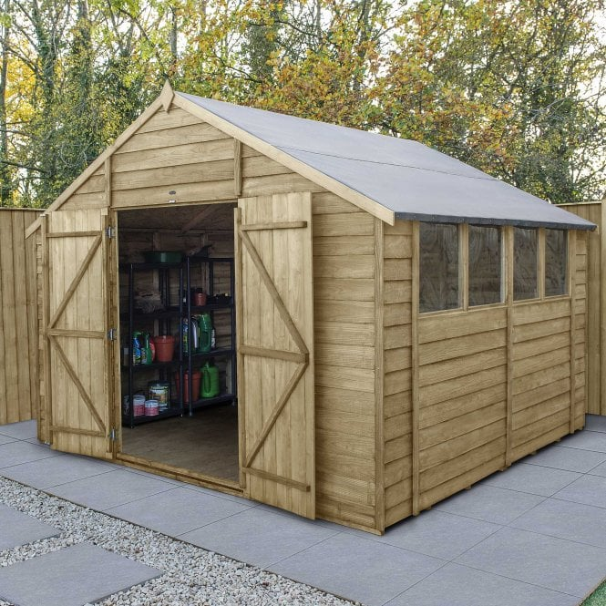 Click to view product details and reviews for Overlap Pressure Treated 10 X 10 Apex Shed Double Door.
