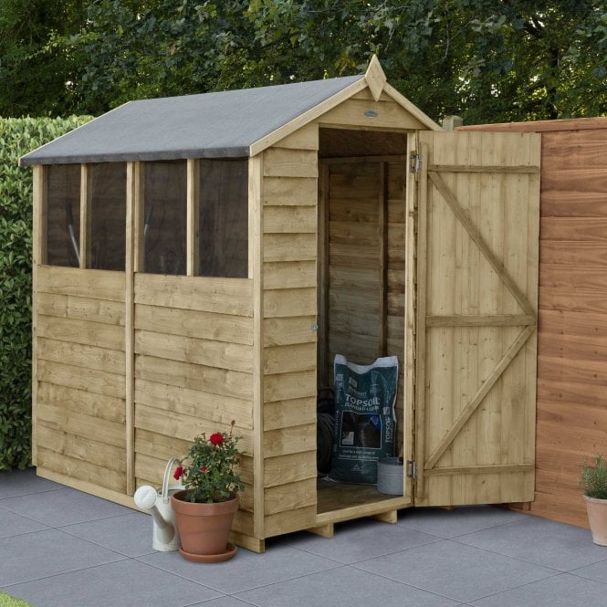 Click to view product details and reviews for Overlap Pressure Treated 6 X 4 Apex Shed 4 Windows.