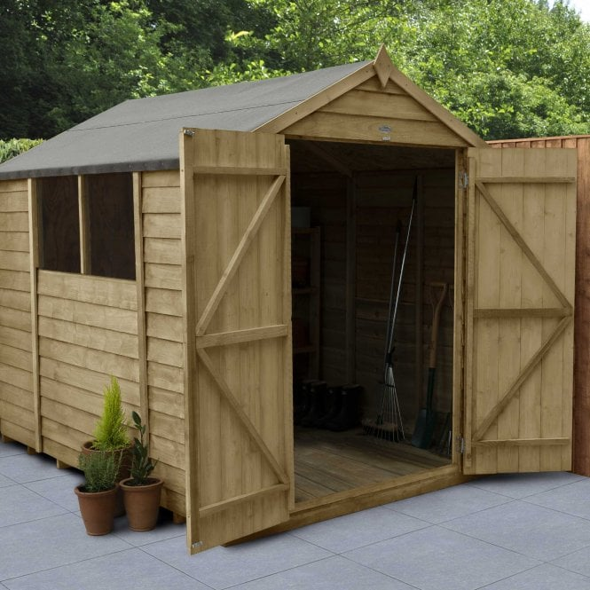 Click to view product details and reviews for Overlap Pressure Treated 8 X 6 Apex Shed Double Door.