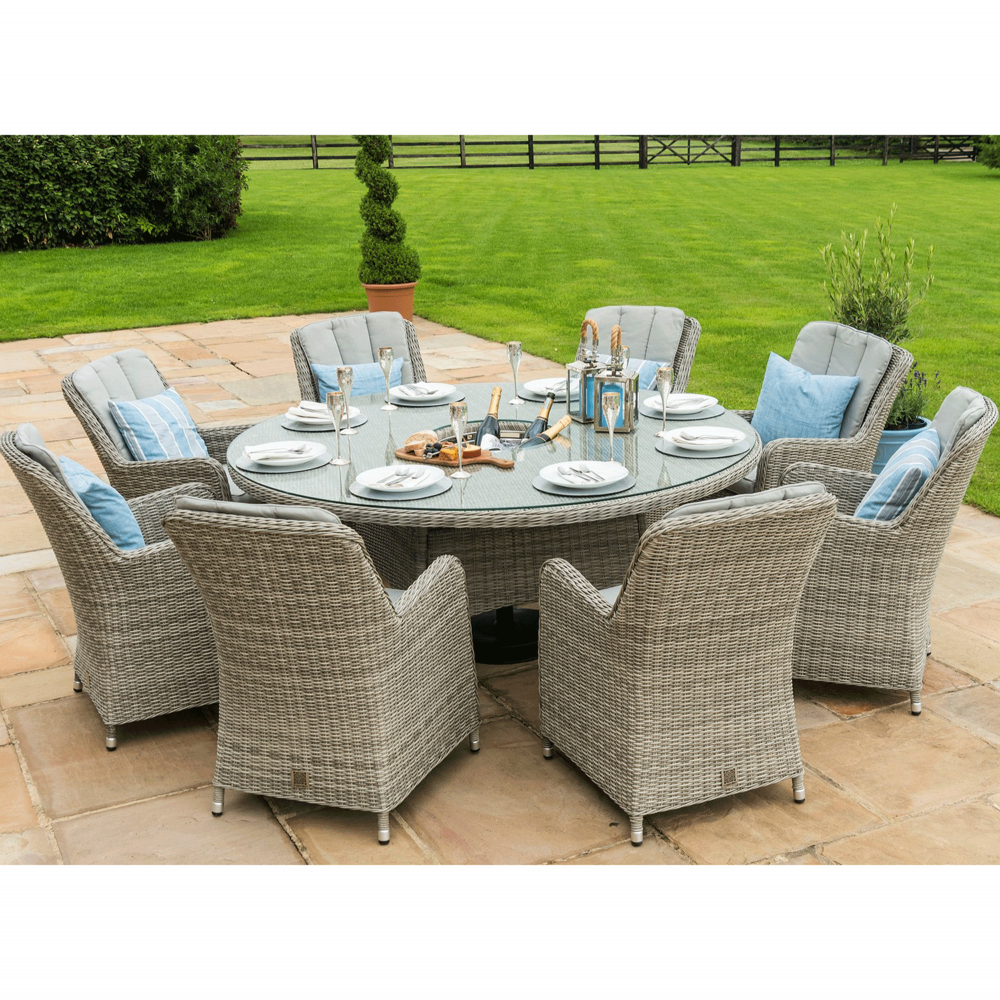 Maze Rattan Oxford 8 Seat Round Dining Set With Venice Chairs