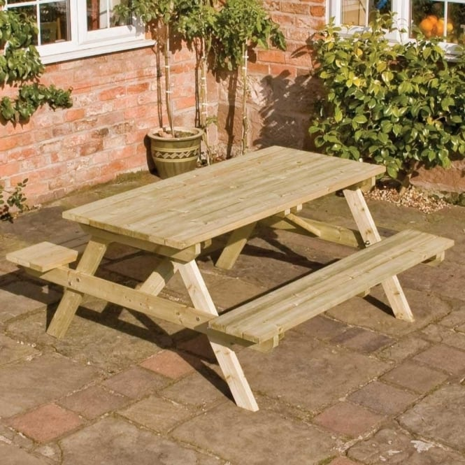Picnic Table And Bench Timber Seats 6 People Pre Assembled