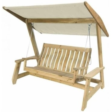 Pine Farmers Swing Seat with Canopy