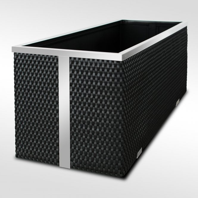 Click to view product details and reviews for Poly Rattan Trough Planter Black 108cm.